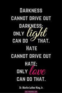 Darkness cannot drive out darkness; only light can do that. Hate cannot drive out hate; only love can do that. ~ Martin Luther King, Jr