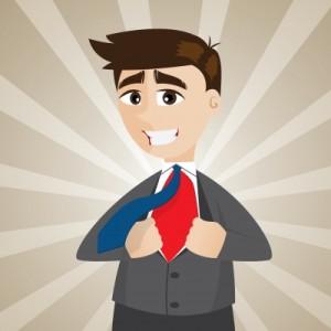 cartoon businessman transfigure to superhero by iosphere
