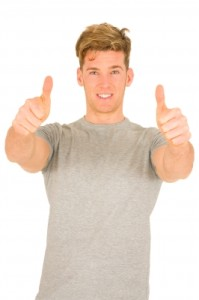 Young Man with Thumbs Up by Ambro