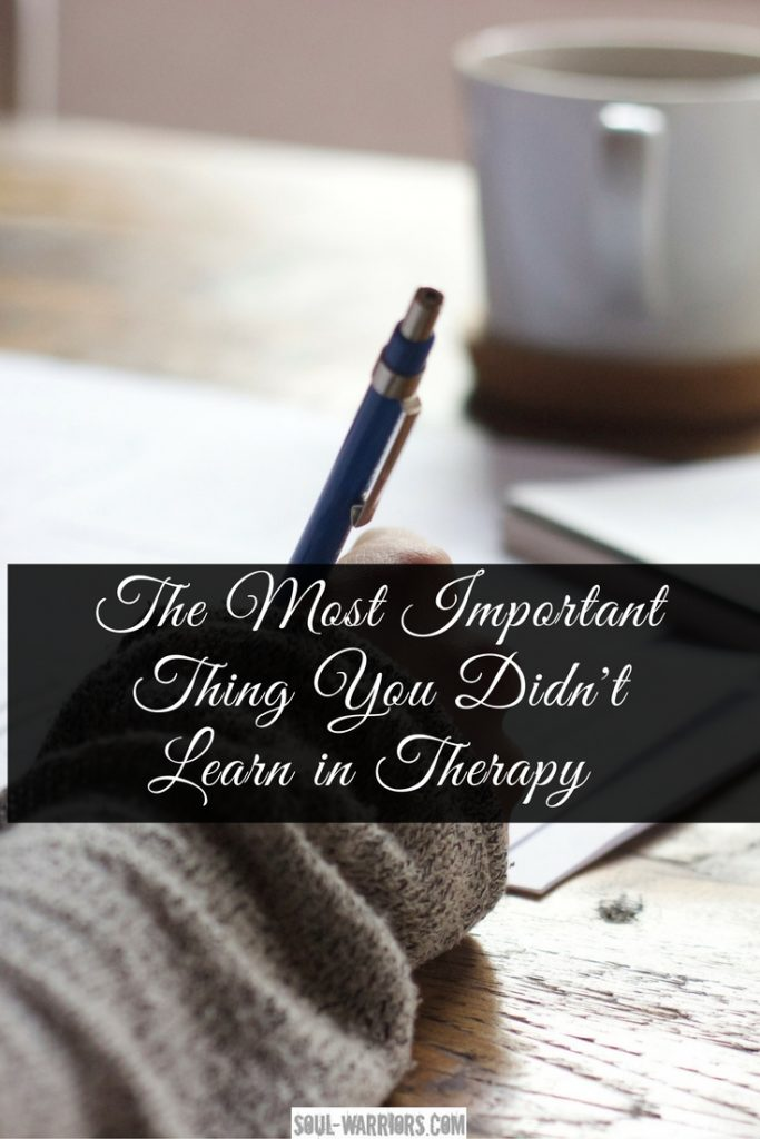 Therapy is awesome and the bedrock of wellness and happiness - and something you didn't learn in therapy is equally as important for a joyful life. Read about it at: http://www.soul-warriors.com/important-thing-didnt-learn-therapy/