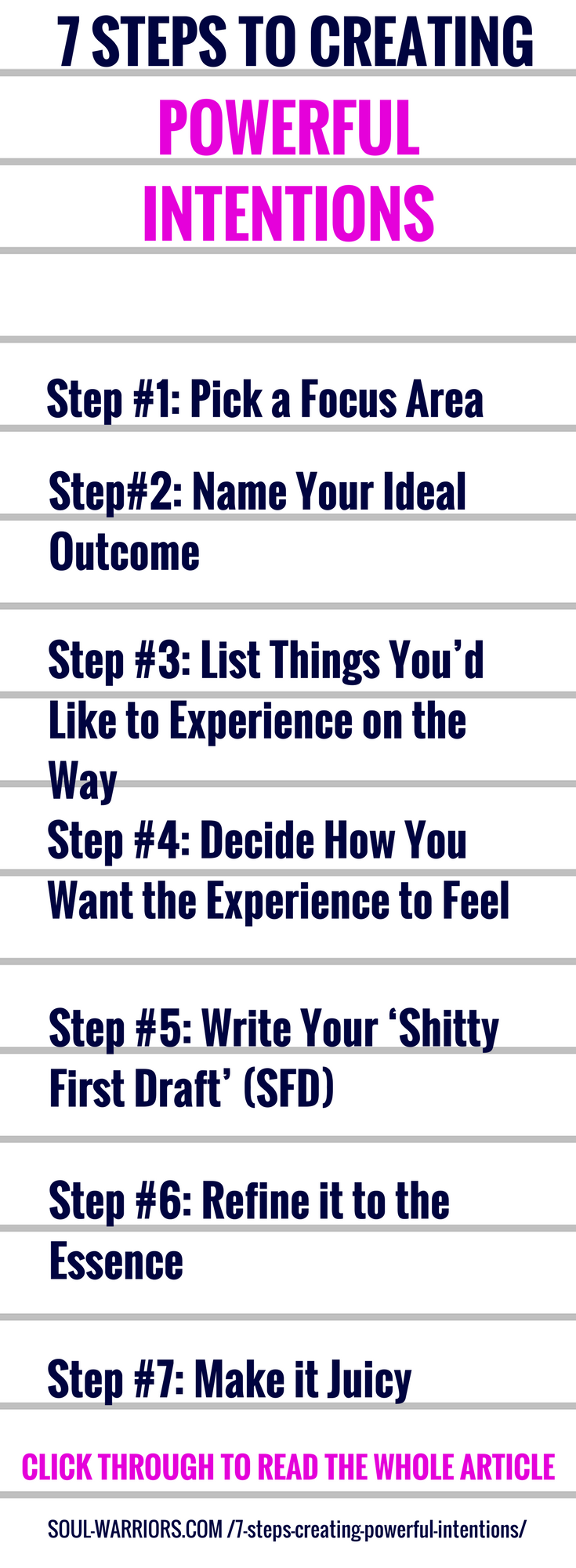 Try this 7 step process to creating powerful intentions by making them so juicy that you can't wait to get started living them. Click through to read the whole post: http://www.soul-warriors.com/7-steps-creating-powerful-intentions